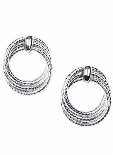 Ng Style Halkalı Metalik Küpe Gümüş